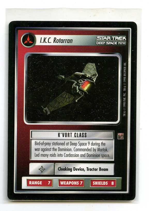Star Trek Ccg The Dominion Decipher 1998 Ikc Rotarran Ships