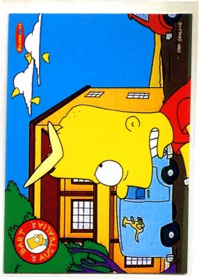 Simpsons Downunder Collector Card - Tempo 1996 - Bart and Boomerang