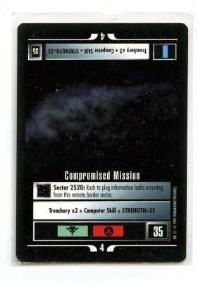 Star Trek CCG Alternate Universe - Paramount 1995 - Compromised Mission - Missions - Rare - BB