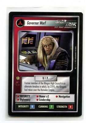 Star Trek CCG Alternate Universe - Paramount 1995 - Governor Worf - Personnel: Klingon - Rare - BB