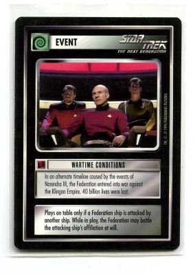 Star Trek CCG Alternate Universe - Paramount 1995 - Wartime Conditions - Events - Rare - BB