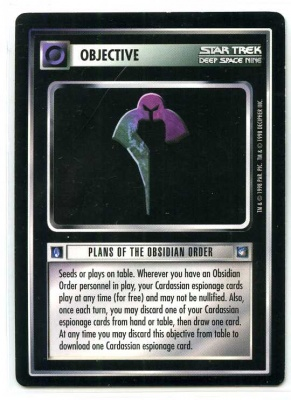 Star Trek CCG Deep Space 9 DS9 - Decipher 1998 - NM-MT to MT - Plans of the Obsidian Order - Objective - Rare - BB