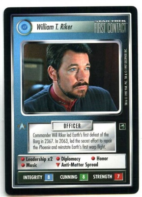 Star Trek CCG First Contact - Decipher 1997 - William T. Riker - Personnel Federation - Rare - BB