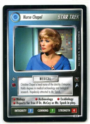 Star Trek CCG Mirror Mirror - Decipher 2000 - MT - Nurse Chapel - Personnel - Rare - BB
