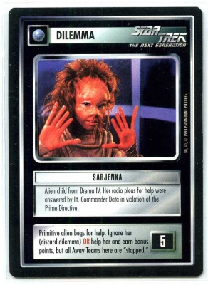 Star Trek CCG Premiere - MT - Sarjenka - Dilemma - Rare - BB