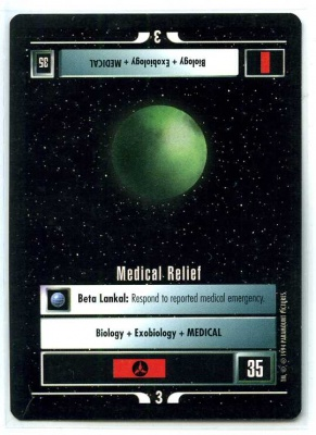 Star Trek CCG Premiere - EX-MT to NM - Medical Relief - Mission - Rare - BB