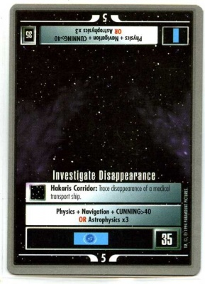 Star Trek CCG Premiere - Paramount 1994 - Investigate Disappearance - Missions - Rare - SB