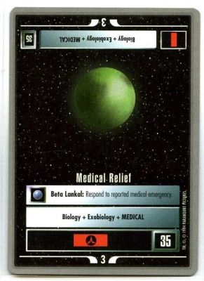 Star Trek CCG Premiere - Paramount 1994 - Medical Relief - Missions - Rare - SB