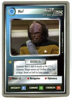 Star Trek CCG Premiere - Paramount 1994 - Worf - Personnel Federation - Rare - SB
