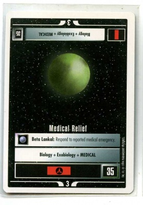 Star Trek CCG Premiere - Paramount 1994 - Medical Relief - Missions - Rare - WB