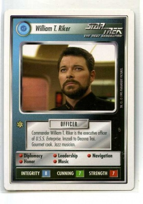Star Trek CCG Premiere - Paramount 1995 - William T. Riker - Personnel: Federation - Rare - WB