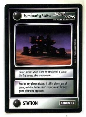 Star Trek CCG Q-Continuum - Paramount 1996 - Terraforming Station - Facilities: Stations - Rare - BB