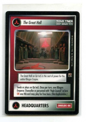 Star Trek CCG The Dominion - Decipher 1998 - The Great Hall - Facilities: Headquarters - Rare - BB