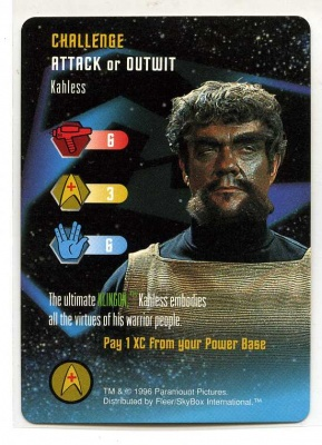 Star Trek TCG - Paramount 1996 - Kahless - Challenge - Attack or Outwit - Rare