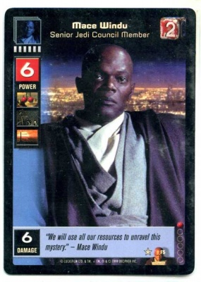 Star Wars Young Jedi CCG Jedi Council Foil - Decipher 1999 - NM-MT to MT - F5 - Mace Windu Senior Jedi Council Member - Super Rare