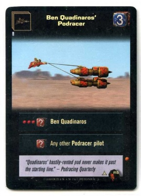 Star Wars Young Jedi CCG Menace of Darth Maul Foil - Decipher 1999 - NM-MT - F15 - Ben Quadinaros' Podracer - Common