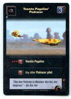 Star Wars Young Jedi CCG Menace of Darth Maul Foil - Decipher 1999 - MT - F18 - Teemto Pagalies' Podracer - Common