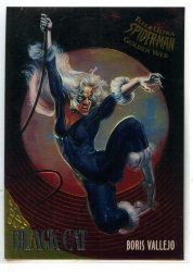 Spider-Man Fleer-Ultra Golden Web Chrome Card - #1 - Black Cat - Boris Vallejo